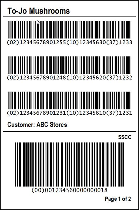 PTI Compliant SSCC Hybrid Pallet Label 4x6